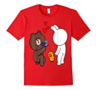 Brown Bear Cony Bunny Rabbit Engaget Ring Marriage Fiance Shirts Red