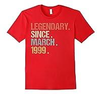 21st Birthday Gift Legendary Since March 1999 Shirt Retro T-shirt Red