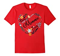 Best Mimmie Ever Heart Flower Blessed Grandma Mother's Day Shirts Red