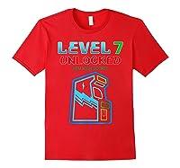 Level 7 Unlocked Birthday Gamer And Girls T-shirt Red