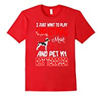 Just Want To Play Christmas Music And Pet Rat Terrier Premium T-shirt Red