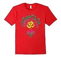 Tree Of Life Shanti Patha Om Yoga Prayer Shirts Red