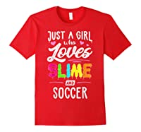 Just A Girl Who Loves E And Soccer Gift Shirts Red