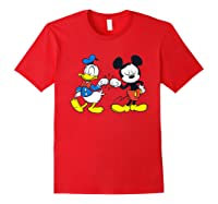 Disney Mickey Mouse And Donald Duck Best Friends T-shirt Red