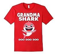 Grandma Shark Doo Doo Shirt For Matching Family Pajamas T-shirt Red