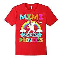 Mimi Of The Birthday Princess T-shirt Dabbing Unicorn Gift T-shirt Red
