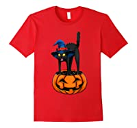 Witch Black Cat Funny Halloween Horror Scary Shirts Red