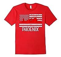 Phoenix Firefighter Red Line Skyline American Flag Hero Shirts Red