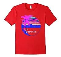 Vaporwave Aesthetic Summer Beach Sunset Palm T-shirt Red