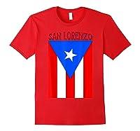 Puerto Rican San Lorenzo Puerto Rico Flag Shirt Red