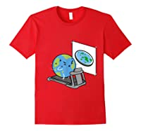 Flat Earth Workout Conspiracy Theory T-shirt Red