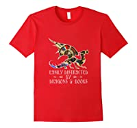 Easily Distracted By Dragons And Books Funny Dragon Shirts Red