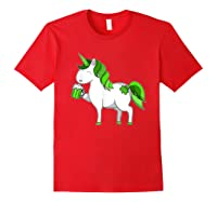 Lepricorn Unicorn St Patrick's Day With Green Clover Shirts Red