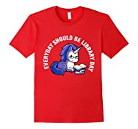 Cute Unicorn Reading Book Librarian Lover Library 2019 Shirt Red