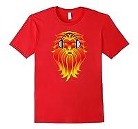 Lion Head Golden Head Phones Shirts Red