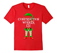 Construction Worker Elf Matching Family Christmas Design Shirts Red