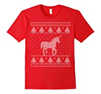 Unicorn Ugly Christmas Sweater, Funny Holiday Gift Shirts Red