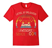 Vintage Video Level 16 Unlocked Gamers 16th Birthday Gifts Shirts Red
