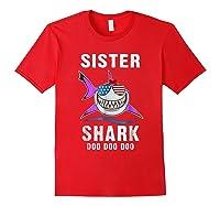 Sister Shark Shirt Doo Doo - Shark Sunglasses Flag America Red