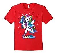 Name Rainbow Unicorn Dabbing Shirts Red