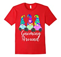 Gnoming Around 3 Hippie Gnomes Tie Dye Hat Retro Peace T-shirt Red