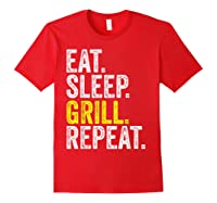 Eat Sleep Grill Repeat Grilling Cook Cooking Bbq Barbecue T-shirt Red