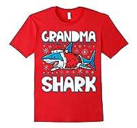 Grandma Shark Santa Christmas Family Matching S Shirts Red