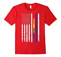 Police Support Lgbt Gay Pride Thin Red Line Rainbow Flag Fun T-shirt Red