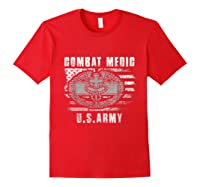 Combat Medic Us Army Flag America 4th July Shirts Red