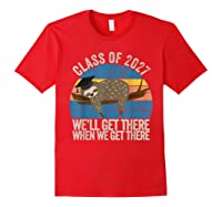 Distressed 5th Grade Class Of 2027 Sloth Grow With Me T-shirt Red
