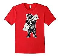 Bear Hug I Love California Art Retro Vintage Cali Bear Shirts Red
