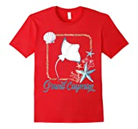 Grand Cayman Islands Turtle Tuna Stingray Blue Souvenir Gift T-shirt Red