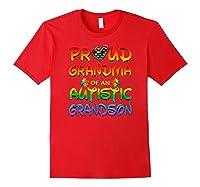Autism Awareness Proud Grandma Of Autistic Grandson Shirts Red
