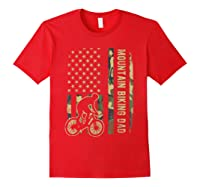 Mountain Biking Dad Camouflage American Flag Fathers Day Shirts Red