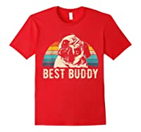 Retro Pug Gift Shirts Red