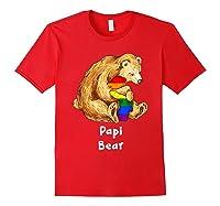 Papi Bear Proud Dad Lgbt Gay Pride Lgbt Dad Gifts Shirts Red