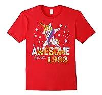 Dabbing Unicorn Awesome Since 1983 36th Birthday Gift 36 Yrs Shirts Red