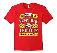 Sunshine And Triplets Funny Triplets Mom Grandma Shirts Red