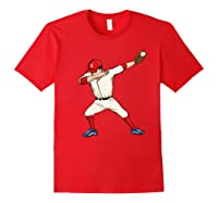 Funny Dabbing Baseball Dab Hip Hop Dance Girls Shirts Red