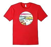 Vintage Famous Japanese Woodblock Art Tone River At Konodai Shirts Red