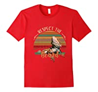 Vintage Respect The Beard Funny Bearded Dragon Lizard Shirts Red