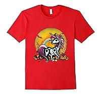 Unicorn Skeleton Pumpkin Funny Unicorn Halloween Horror Gift T-shirt Red