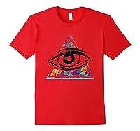 Horus Eye Egyptian Sacred Geometry Illuminati Ankh Egypt Shirts Red
