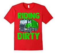 Recycling Trash Garbage Truck Riding Dirty Shirts Red