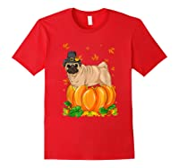 Thanksgiving Day Pug Dog Costume Pumpkin Gifts T-shirt Red