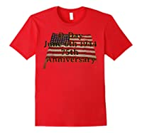 D-day June 6th 1944 75th Anniversary Commemorative 48 Star T-shirt Red