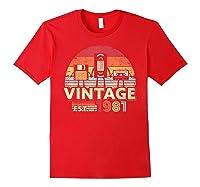 1981 Shirt. Vintage Birthday Gift, Funny Music, Tech Humor T-shirt Red