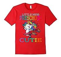 Little Miss Preschool Cutie Unicorn Back To School Girls T-shirt Red