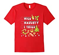 Nice Naughty I Tried Funny Candy Christmas Pajama Gift Shirts Red