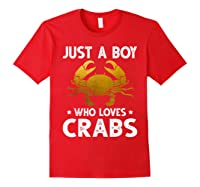 Just A Boy Who Loves Crabs Cute Animals Lovers Shirts Red